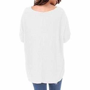 Berry Stylish Sweaters - Let It Loose Top - Waffle Knit V Neck Long Sleeve